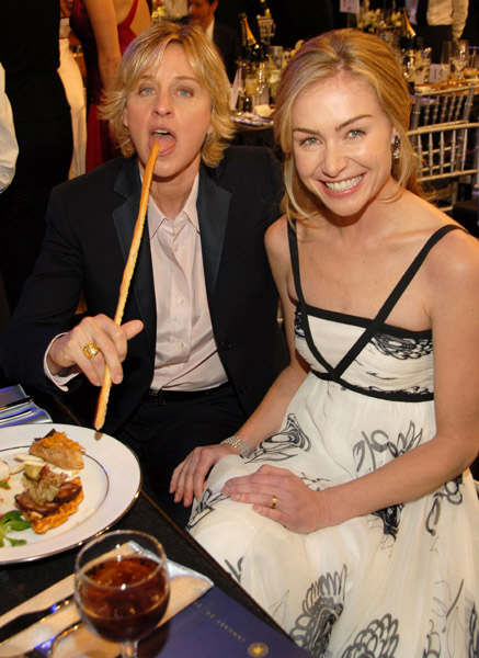 ellen degeneres and portia de rossi eating